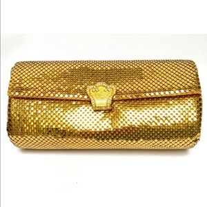 Gold mesh clutch with Crystal snap closure